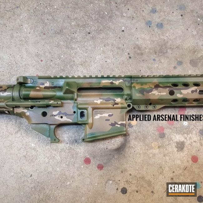 Cerakoted: Coyote Tan H-235,HAZEL GREEN H-204,MultiCam,Desert Sand H-199,Upper / Lower / Handguard,Chocolate Brown H-258