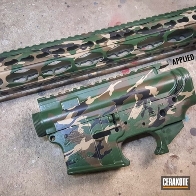Cerakoted: Palmetto State Armory,Highland Green H-200,MultiCam,Graphite Black H-146,Desert Sand H-199,Upper / Lower / Handguard,Patriot Brown H-226