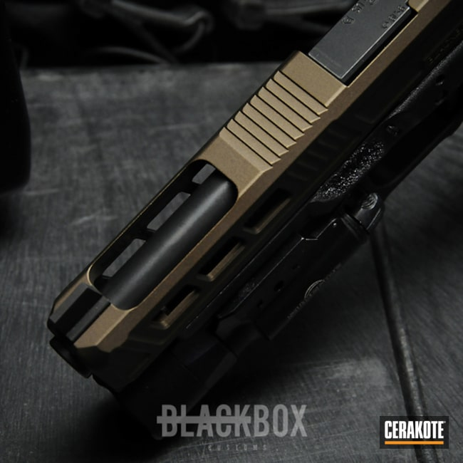 Cerakoted: Two Tone,Burnt Bronze H-148,Stippled,Pistol,Glock