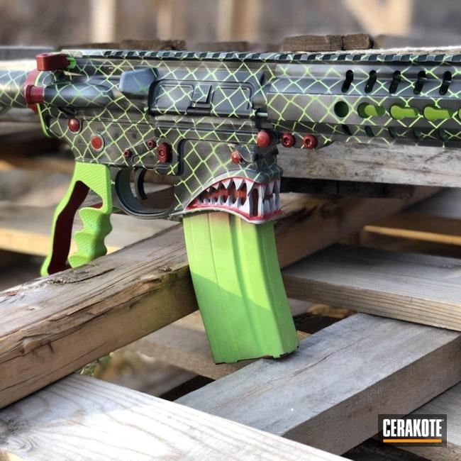 Cerakoted: Hidden White H-242,Spike's Tactical,Zombie Green H-168,Crimson H-221,Tactical Rifle,Spikes Tactical Hellraiser