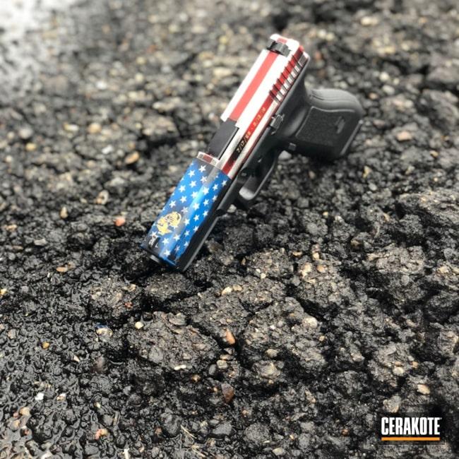 Cerakoted: Hidden White H-242,NRA Blue H-171,Pistol,American Flag,Glock,USMC,Veteran,SMITH & WESSON® RED H-216,Gold H-122