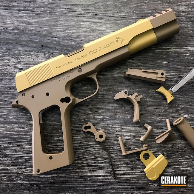 Cerakoted: Two Tone,Ral 8000 H-8000,Colt,Pistol,1911,GLOCK® FDE H-261