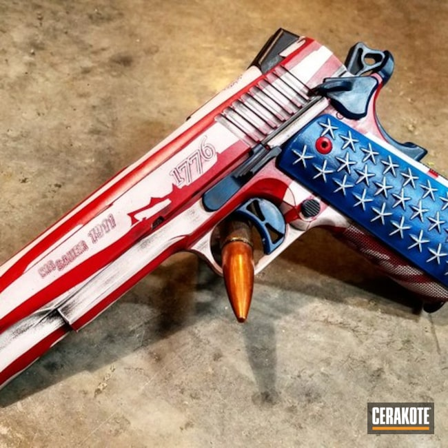 Cerakoted: .45 ACP,Distressed,Corrosion Protection,Pistol,American Flag,Sig Sauer,Battleworn,Stormtrooper White H-297,Distressed American Flag,American Flag Theme,Sig Sauer 1911,1911,Stars and Stripes,SMITH & WESSON® RED H-216,Sky Blue H-169