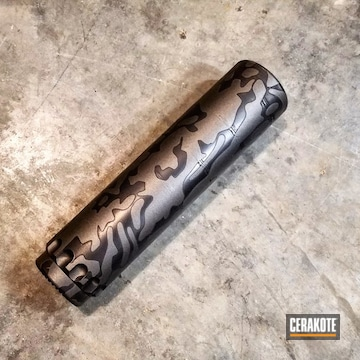 Cerakoted Suppressor Done In A Custom Cerakote Camo