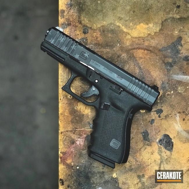 Cerakoted: Glock 19,Sniper Grey H-234,Thin Blue Line,Graphite Black H-146,Pistol,American Flag,Glock,Thin Blue Line Flag,Handguns,Stars and Stripes,Sky Blue H-169