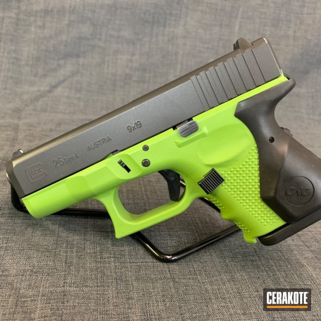 Cerakoted: Two Tone,Zombie Green H-168,Pistol,Glock,Glock Frame,Glock 26