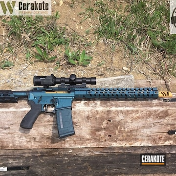 Cerakoted Ar-15 With Gun Candy Over Cerakote Armor Black And Matte Ceramic Clear