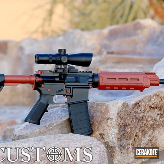 Two Toned AR-15 Red / Black Cerakote Finish