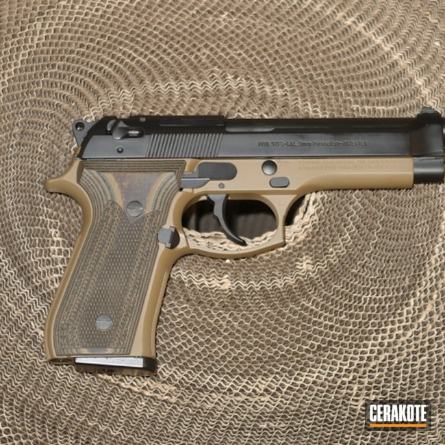 "Thumbnail image for project ""Beretta 92 with Two Tone Black / FDE Cerakote Finish"""