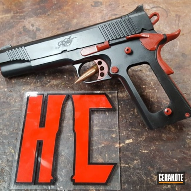 Kimber 1911 Handgun with Cerakote H-221 Crimson and H-146 Graphite Black