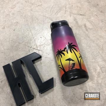 Cerakoted Aluminum Yeti Water Bottle With Cerakoted Beach Scene