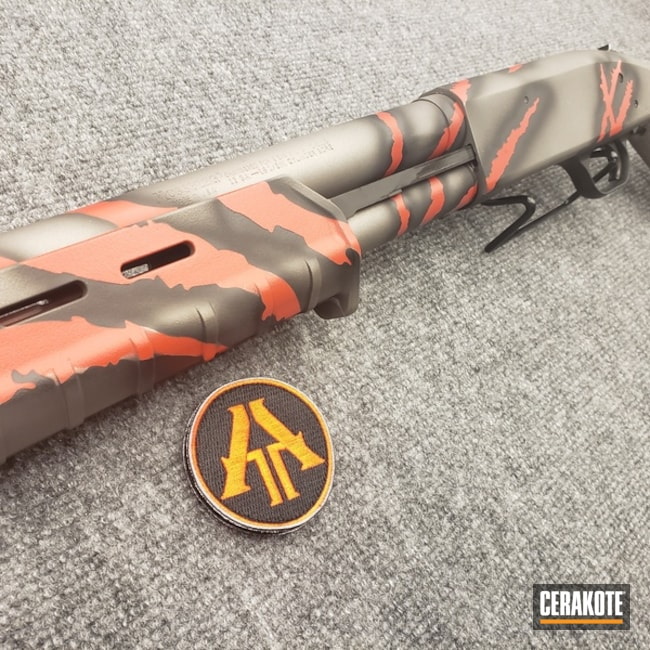 Tactical Mossberg Shotgun with Red / Black / Grey Cerakote Rip Torn Finish