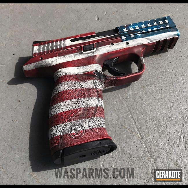 Smith & Wesson Handgun with Cerakote American Flag Finish