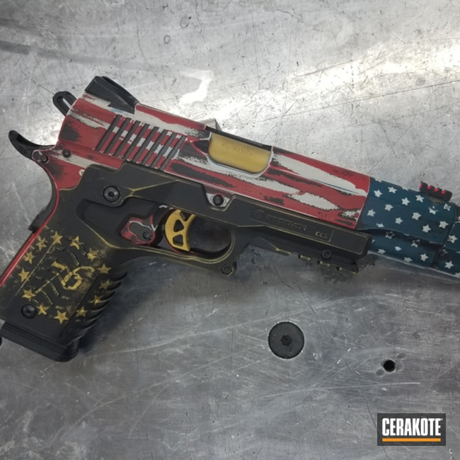 1911 Handgun with a Cerakote American Flag Finish