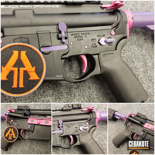 Smaller version of the 2nd project picture. Spike's Tactical, Black Rain Ordnance, AR-15, Girls, Accent Color, Tactical Rifle, Girls Gun, Bright Purple H-217Q, Sig Pink H-224Q, Highland Green H-200