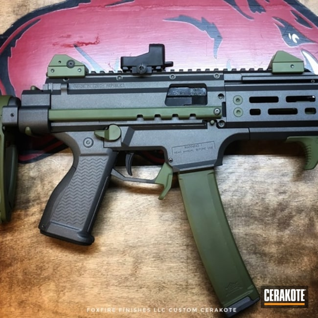 Two Toned CZ Scorpion Evo with Cerakote Tungsten and MagPul O.D. Green Finish