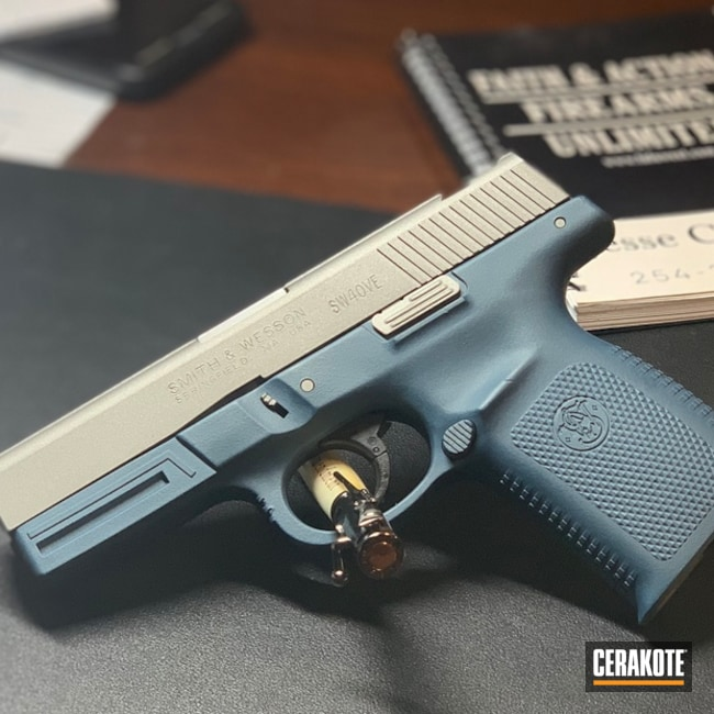 Two Tone Smith & Wesson done in Cerakote Blue Titanium and Savage Stainless