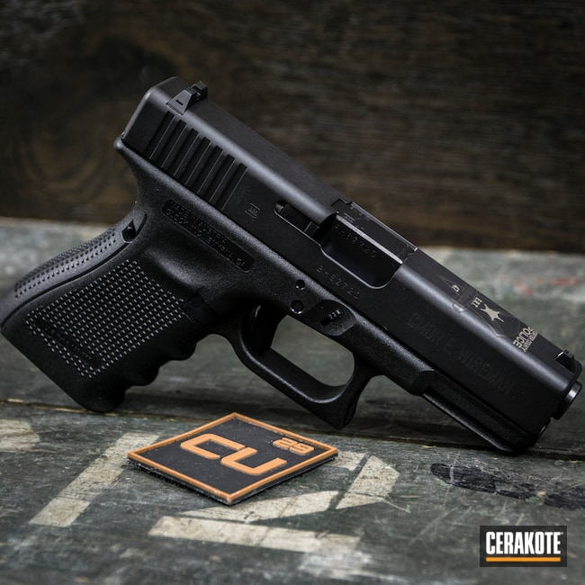 Cerakoted Cerakote H-190 Armor Black On This Glock 19 Handgun