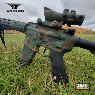 Cerakoted Woodland Cerakote Camo On This Rock River Arms Rifle