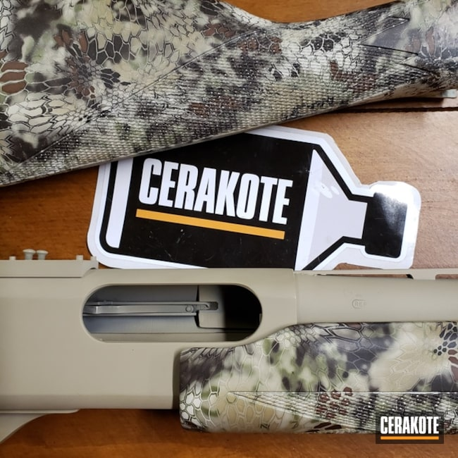 Shotgun with Cerakote H-199 Desert Sand and H-301 Matte Armor Clear