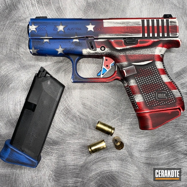 Glock 43 with a Distressed Cerakote American Flag Finish