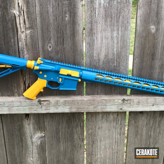 Two Toned Blue and Yellow Anderson Mfg. Rifle
