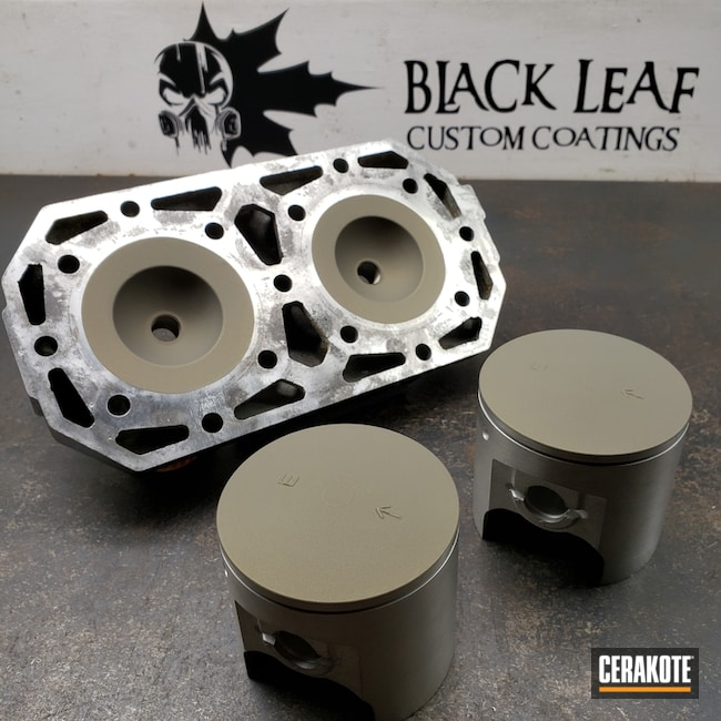 Pistons and Cylinder Head coated in Cerakote V-136