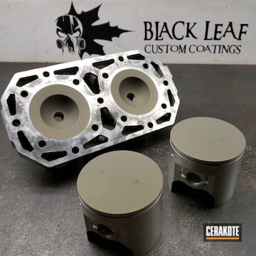Cerakoted Pistons And Cylinder Head Coated In Cerakote V-136