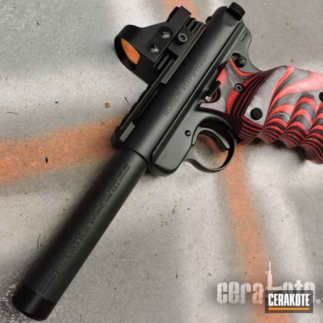 Ruger Mark II Target Handgun Refinished with Cerakote Graphite Black and Sniper Grey