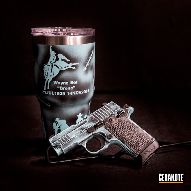 Matching Sig Sauer Handgun and Tumbler Cup