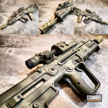 Cerakoted Iwi X-95 Bullpup Rifle With A Custom Cerakote Camo Finish