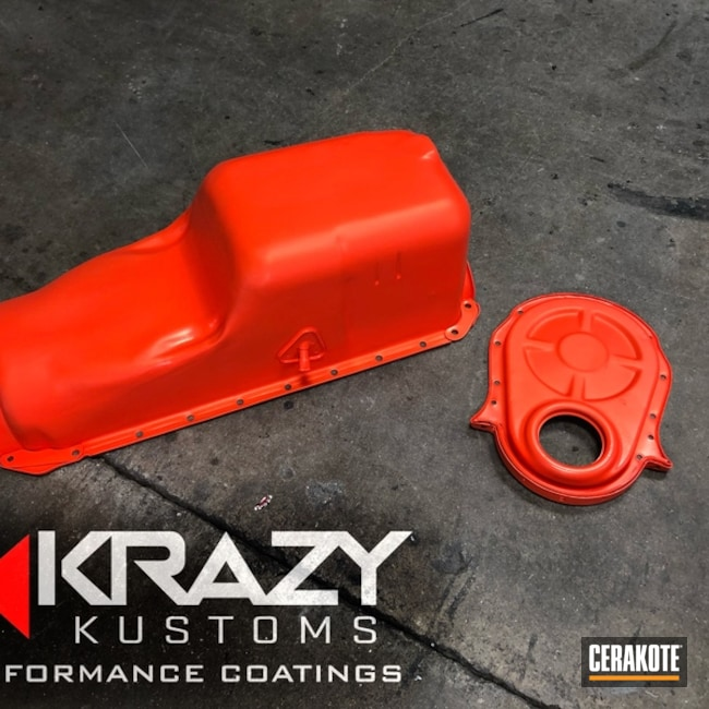 Chevy Oil Pan refinished with Cerakote H-128 Hunter Orange