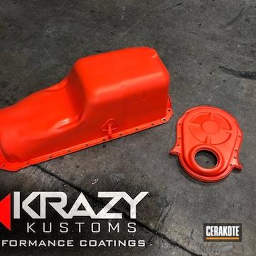 Cerakoted Chevy Oil Pan Refinished With Cerakote H-128 Hunter Orange