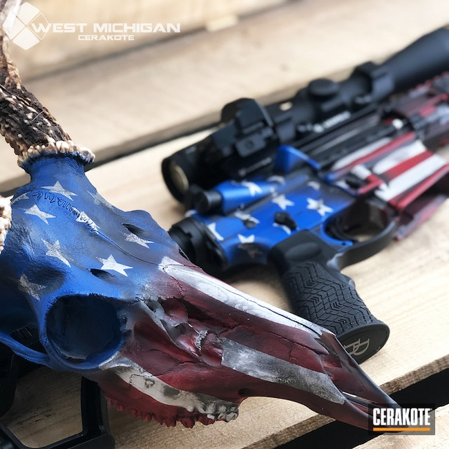 Deer Skull and Matching Daniel Defense Rifle with an American Flag Cerakote Finish