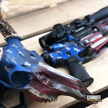 Cerakoted Deer Skull And Matching Daniel Defense Rifle With An American Flag Cerakote Finish