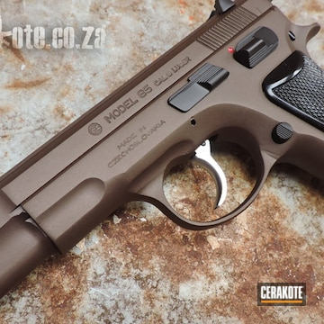 Cerakoted Cz-85 Handgun With Cerakote Graphite Black And Vortex Bronze