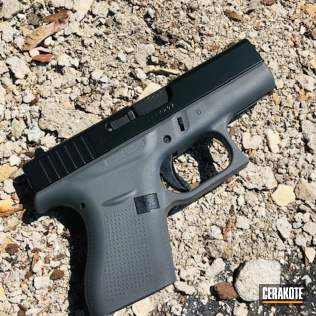 Cerakoted: Cerakote Elite Series,Glock 42,BLACKOUT E-100,Two Tone,.380,Glock,Concrete E-160,Concrete E-160G