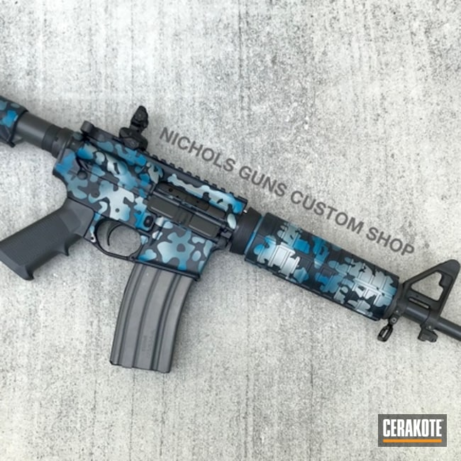 Tactical Rifle finished in a Blue MultiCam Finish