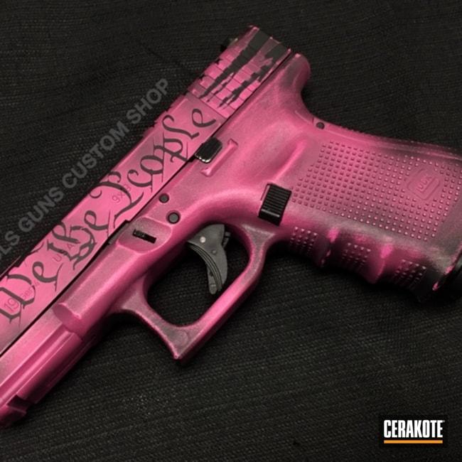Cerakoted: Glock 19,Gen II Graphite Black HIR-146,Pistol,Glock,Prison Pink H-141,Custom Glock Slide,We the people,Nichols Guns Custom Shop