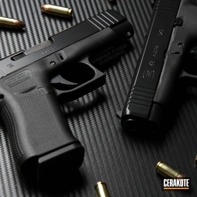 Cerakoted: Glock 48,9mm,Cerakote Elite Series,BLACKOUT E-100,Elite Blackout,Glock,Elite,Handguns