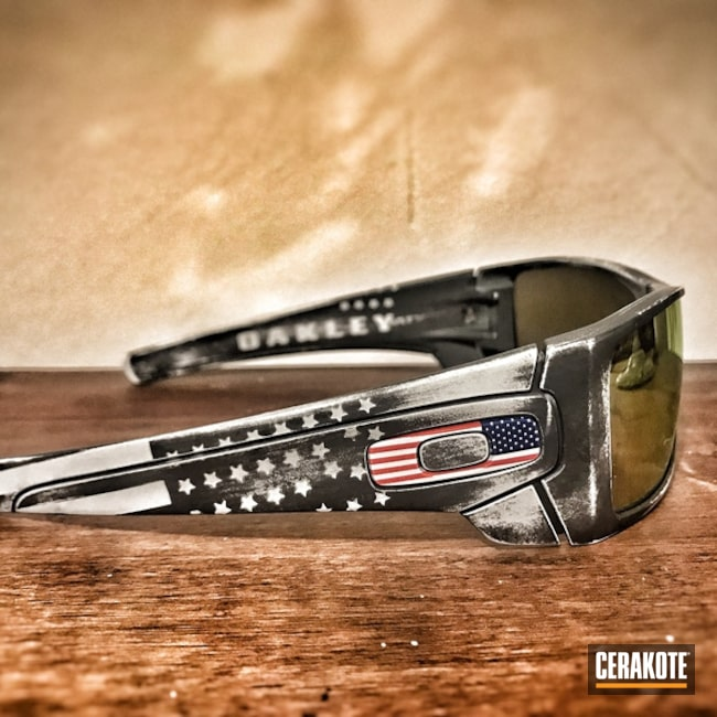 Distressed American Flag Finish on these Oakley Sunglasses