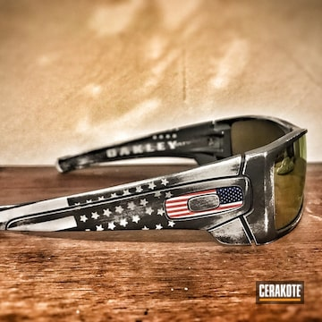 Cerakoted Distressed American Flag Finish On These Oakley Sunglasses