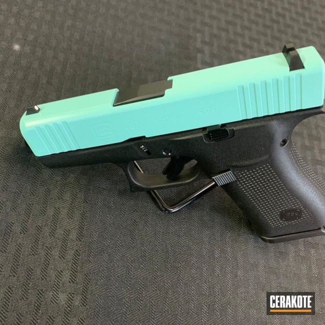 "Thumbnail image for project ""Glock 43X Handgun Cerakoted with H-175 Robin's Egg Blue"""