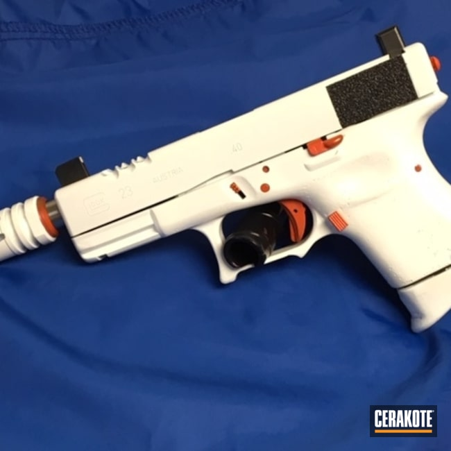 Glock 19 Handgun Cerakoted with H-128 Hunter Orange and H-297 Stormtrooper White