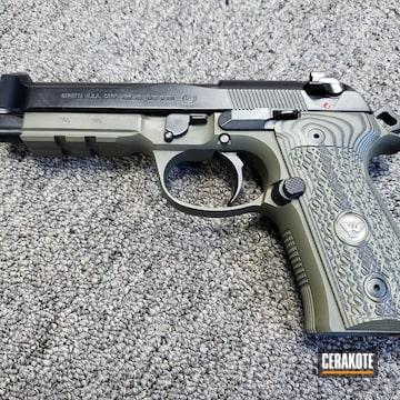Cerakoted Beretta 92g Handgun Cerakoted In H-232 Magpul O.d. Green