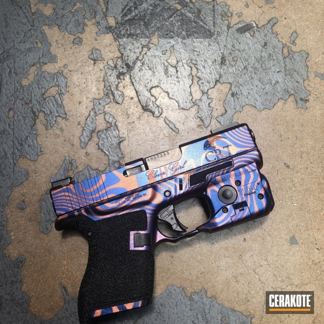 Personalized Glock 43 featuring Cerakote Armor Black, High Gloss Ceramic Clear and Gun Candy