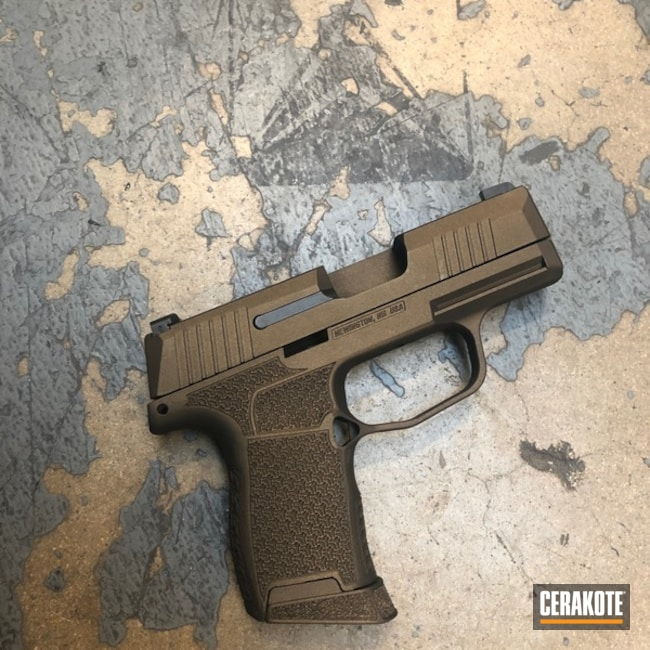 Cerakoted Sig Sauer P365 Handgun In Cerakote H-294 Midnight Bronze