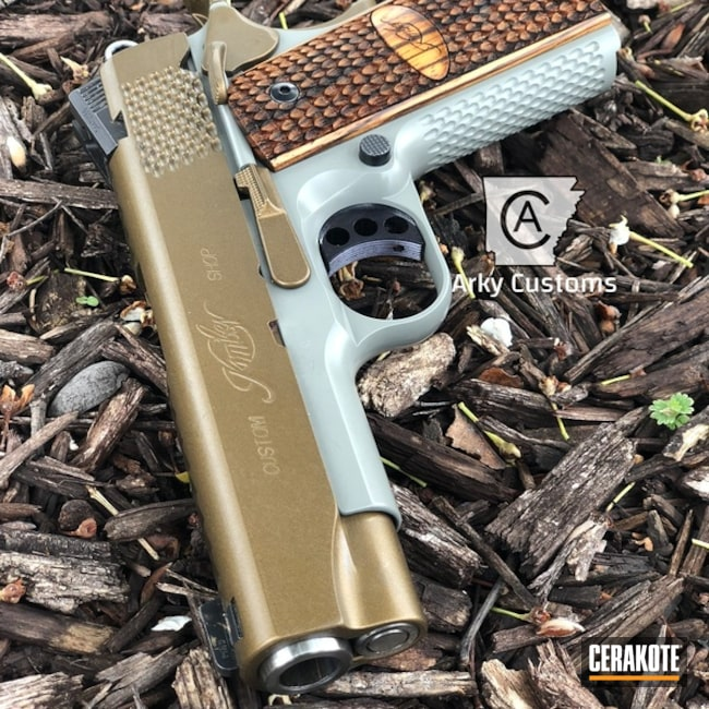 "Thumbnail image for project ""Kimber 1911 Handgun Cerakote Burnt Bronze and Smith & Wesson Grey"""