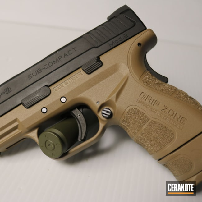 Cerakoted Springfield Xd-9 In Cerakote H-225 Mud Brown