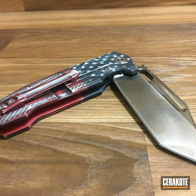 Smaller version of the 3rd project picture. Graphite Black H-146Q, Distressed, Knives, Not Just Guns, USA, Smith & Wesson Red H-216, Bright White H-140Q, Blue Titanium H-185Q, Folding Knife, Distressed American Flag, ADV Knives